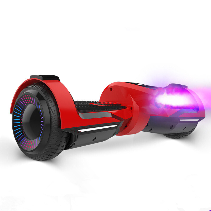 Phoenix 6.5 inches Electric Scooter Two Colorful Glowing Wheel Music Balancing Boards for Children and Students - Red