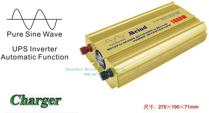 Hot Selling Pure Sine Wave BuiltIn Charger UPS DC to AC Continuous 1000W Peak 2000 Watt Power Inverter