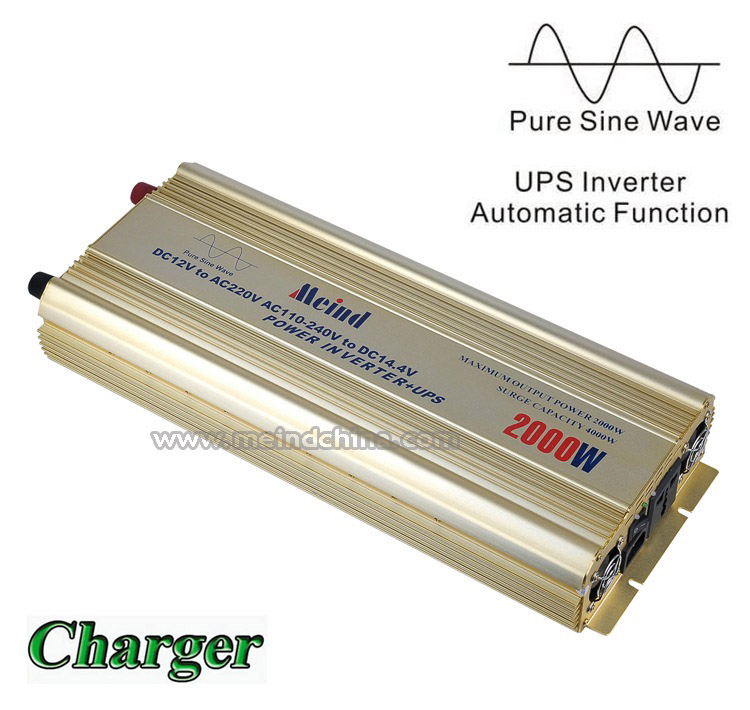 High Quality PSW Pure Sine Wave Builtin Charger UPS DC 12V to AC 220V Sufficient 2000W Peak 4000W Power Inverter