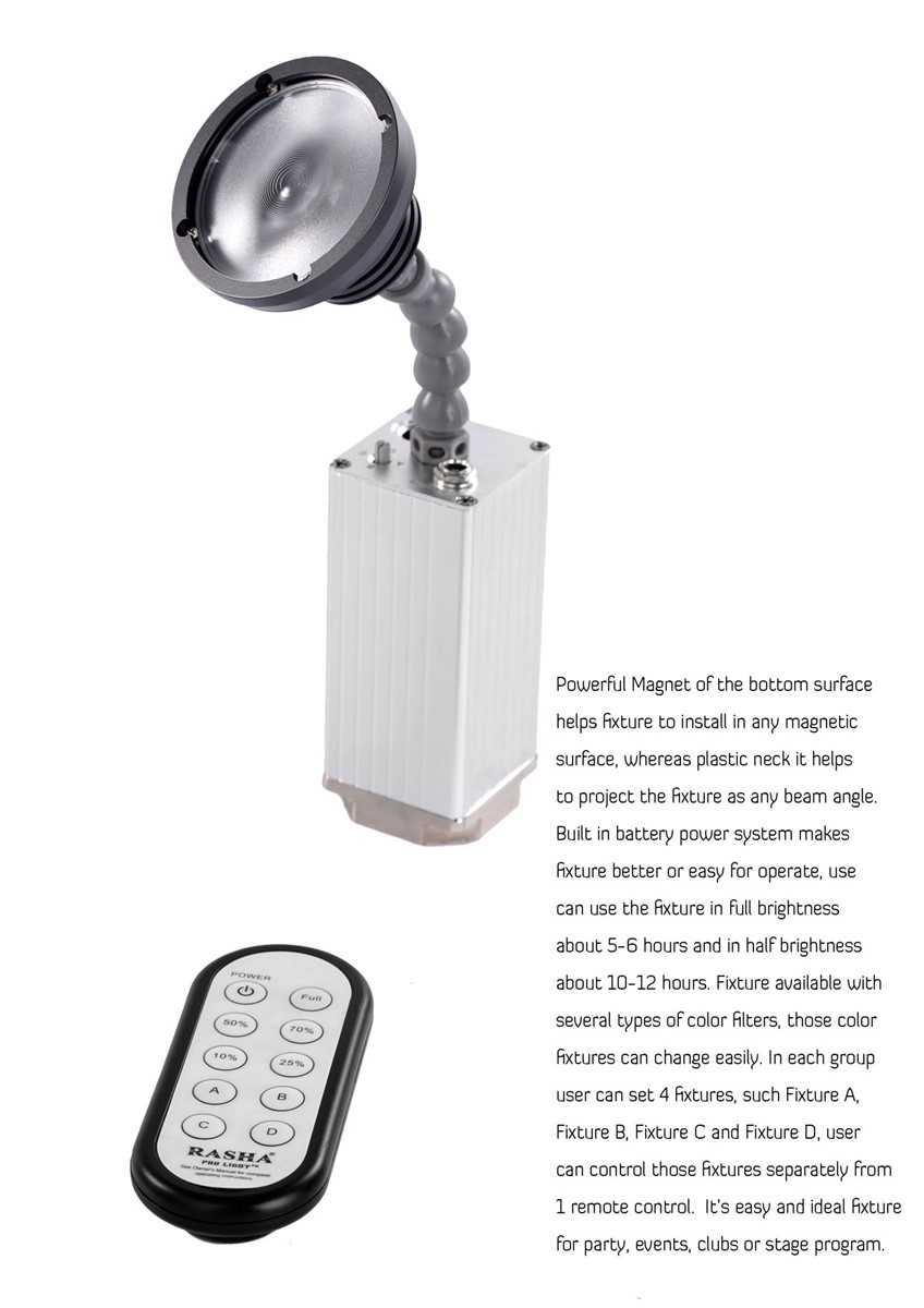 New Arrival 10W Zoom Warmwhite Battery Powered LED Pinspot Light with MagneticLED Flashlight with IR Remote Control
