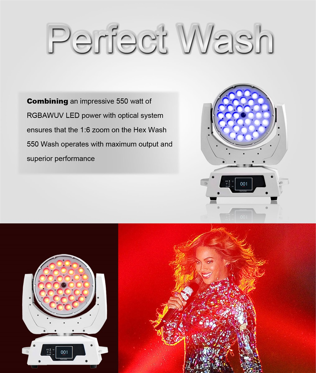 36pcs18W 6in1 RGBAWUV Zoom LED Moving Head Wash with Touch Screen LCD DiplayDMX INOut Powercon