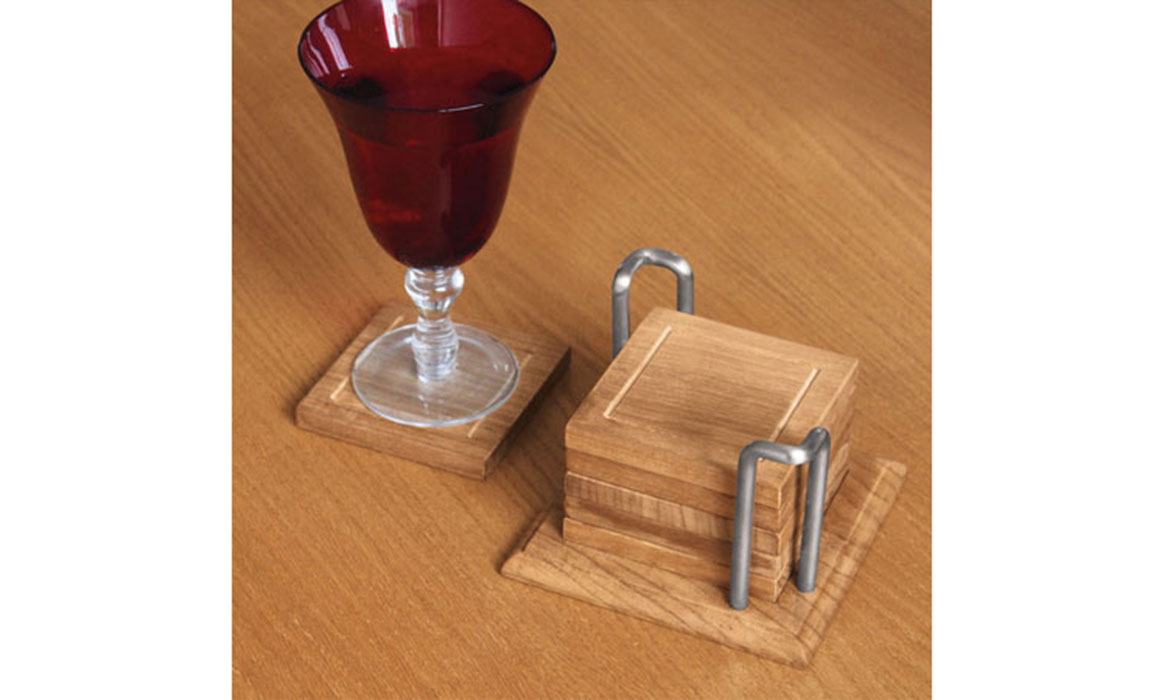 Wood Coaster Set of 6 Square Solid Wood