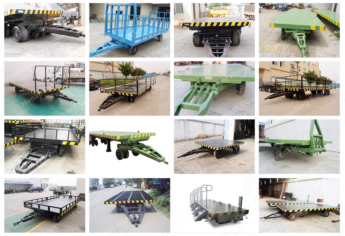 Industry Applied Flat Bed Trailer Full Trailer with Draw Bar