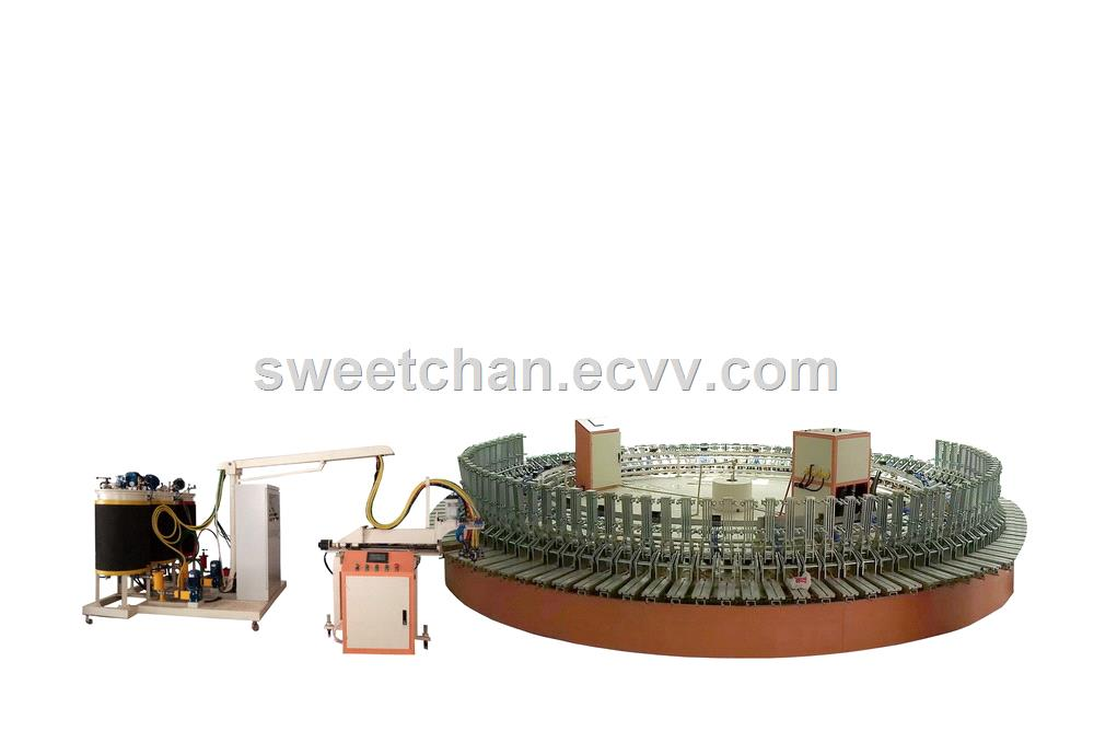 Safety Shoes PU SemiAutomatic Injection molding machine Production Line