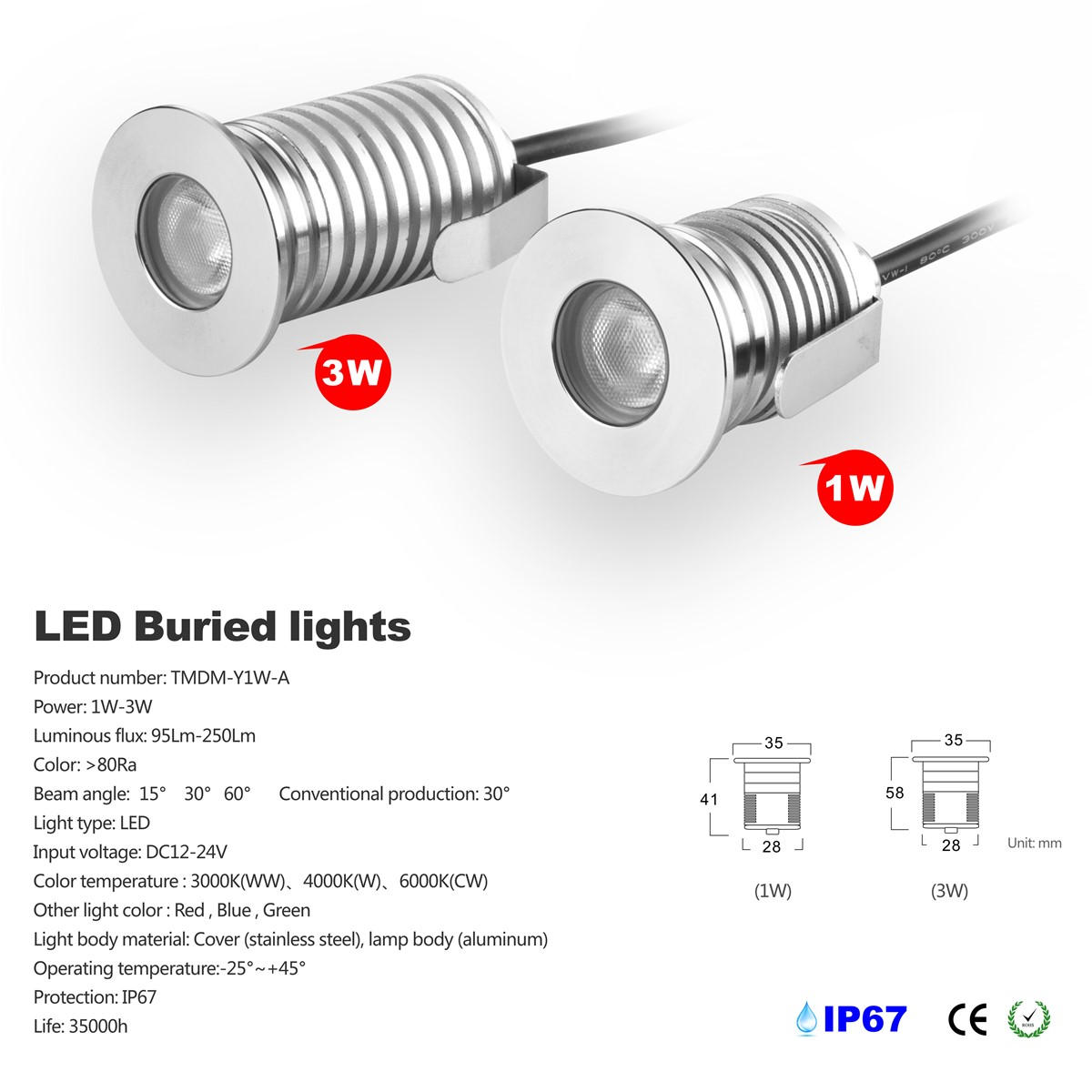 Mini 3W LED Buried light Cree LED waterproof underground light