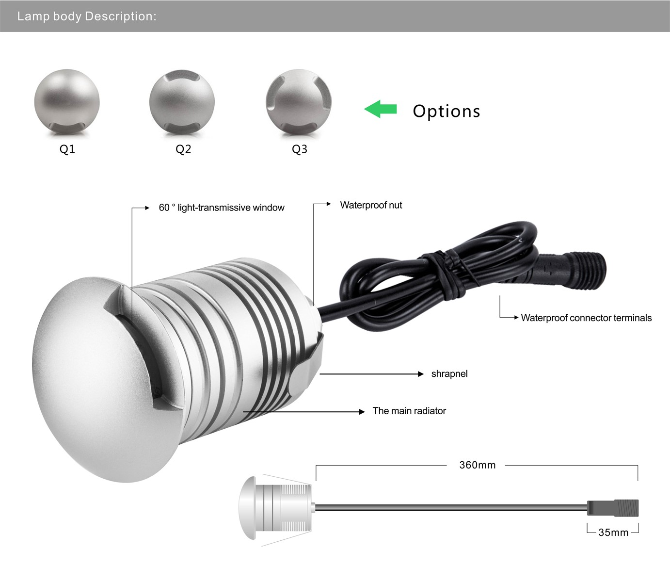 3W Epistar mini Sideview LED Buried Light DC12V IP67 Waterproof outdoor lighting lamp