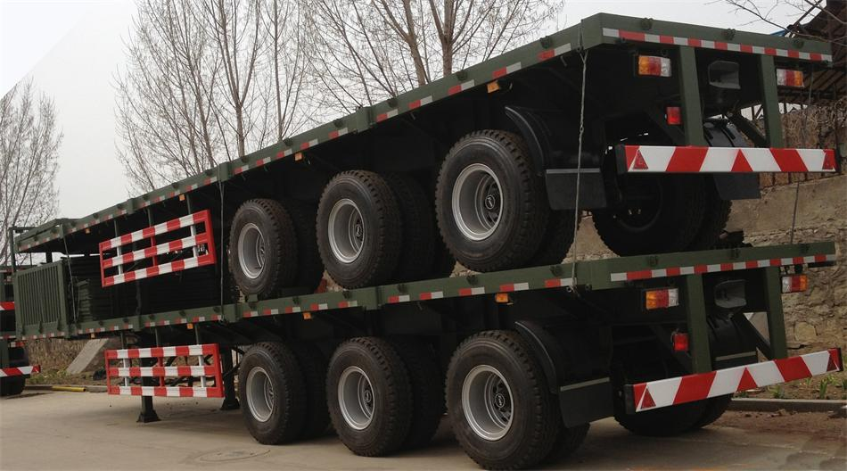 2 AXLES FLAT BED SEMI TRAILER for loading 20ft container