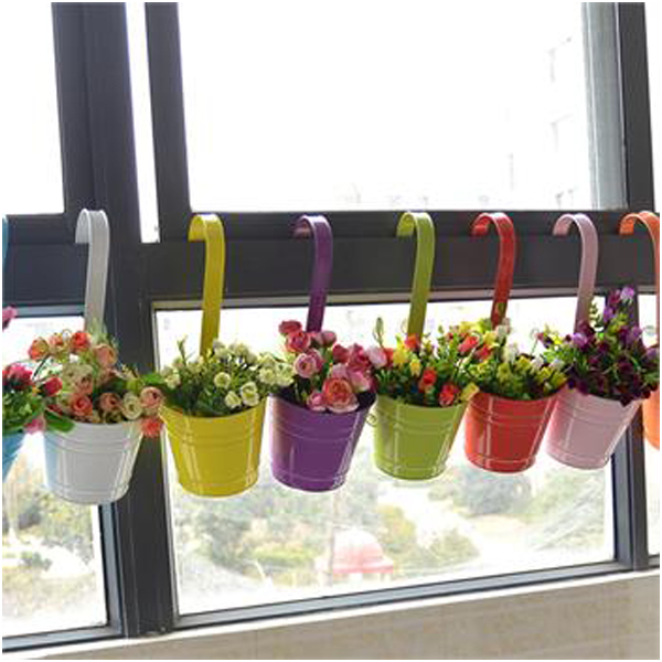 Large Metal Hanging Flower Pots Home Garden Green Plant Planter Baseket Tin Pot