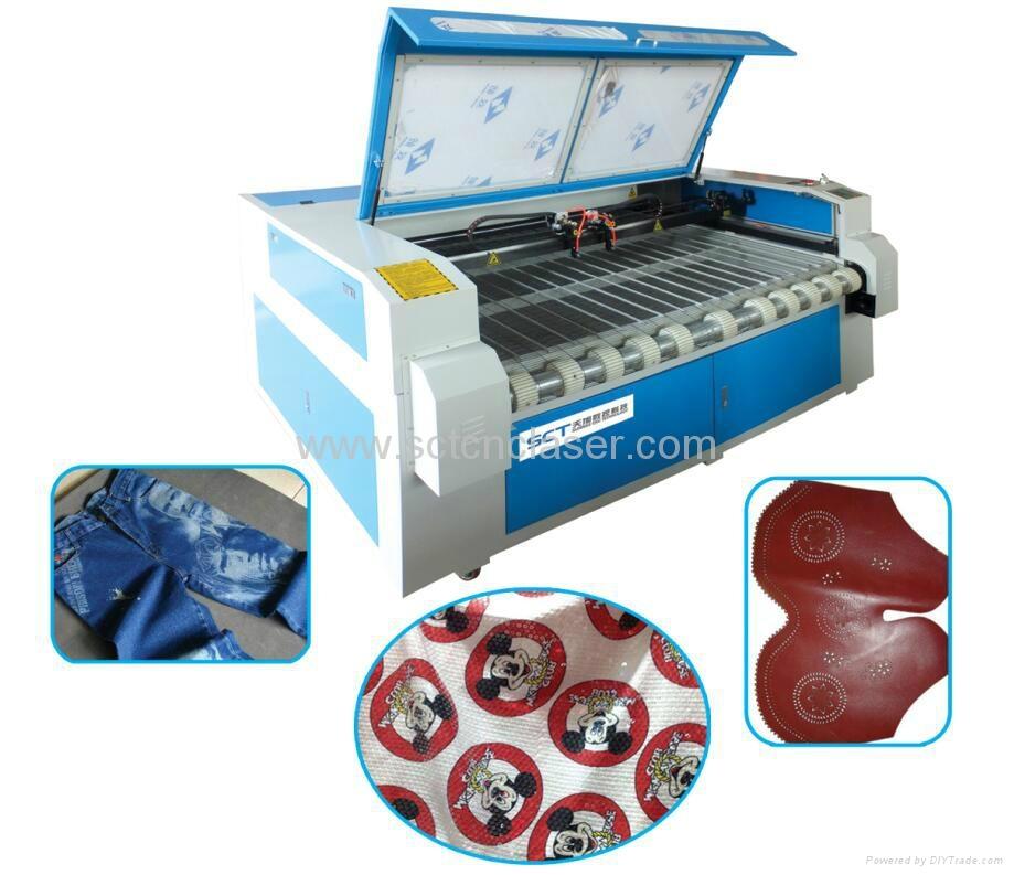 Double Laser Heads Fabric Auto Feeding Laser Cutting Machine