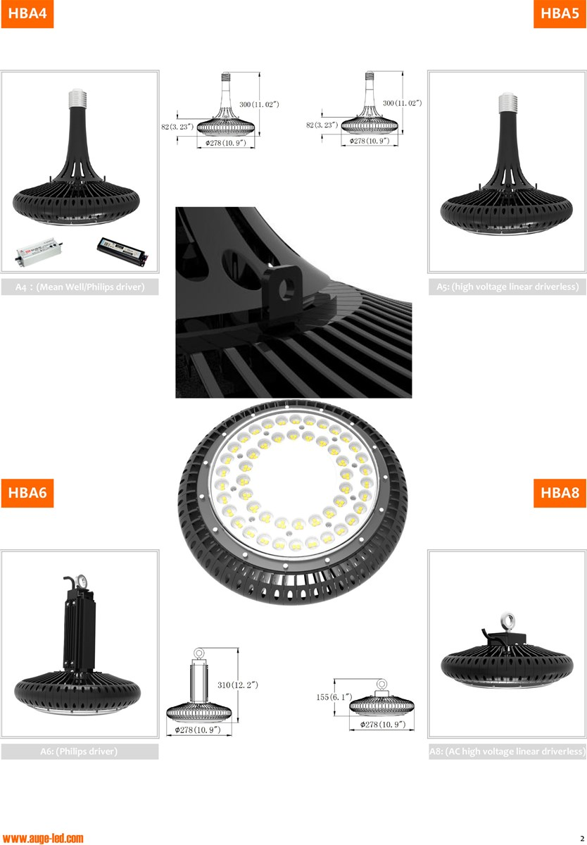 100W 150W UFO Bulb Light E40E39 Base Replacement UFO Bulb IP65 130lmW Replacement High Bay Light