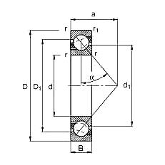 Angular contact ball bearing 71810 AC 50657 mm
