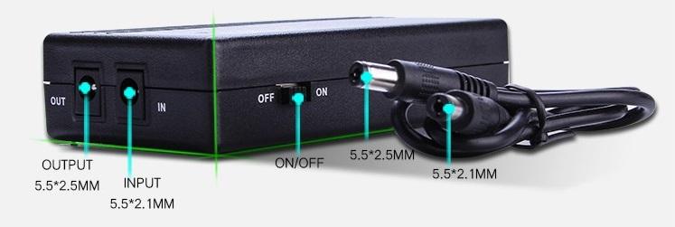 ecaltvv 12V 1A portable mini UPS power supply mini 12v 12w DC UPS for wireless adsl modem router