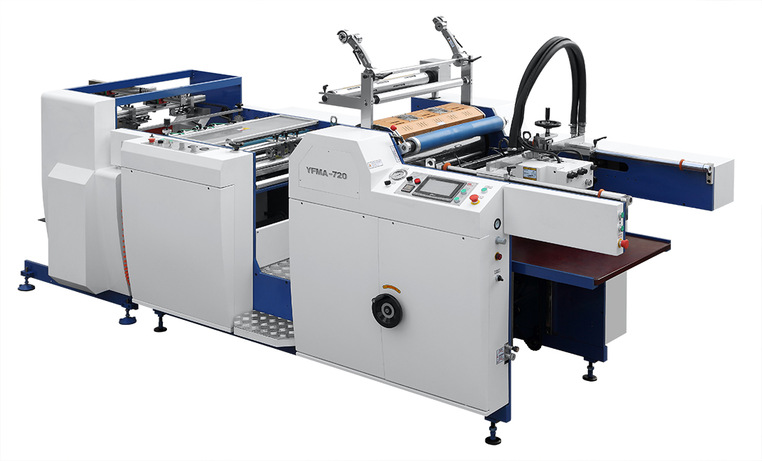 Auto film lamination machine Model YFMA with electromagnetic heating system and auto stacker