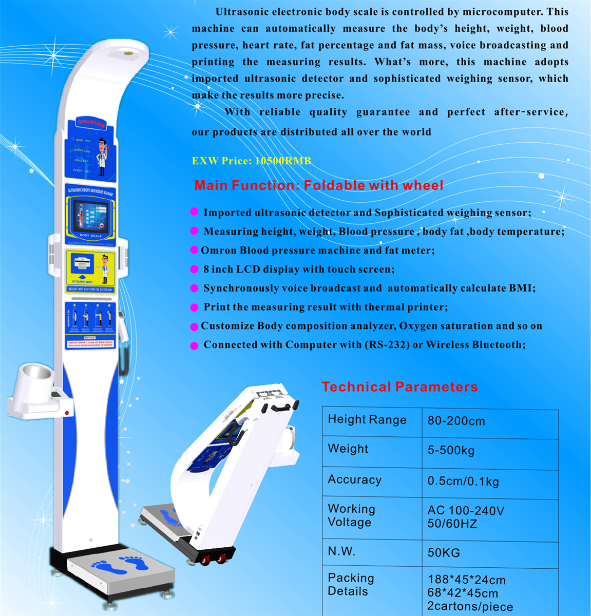 DHM800Z Height Weight BMI Machine Body scale Bluetooth and RS232 Connect computer with CE and RoHS Approved from Ch