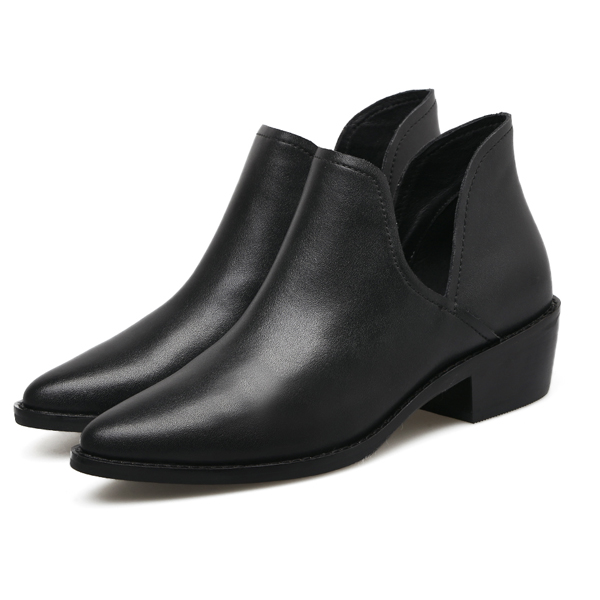 GuangZhou shoes factory 2017 new arrival nappa leather cut out ankle boots
