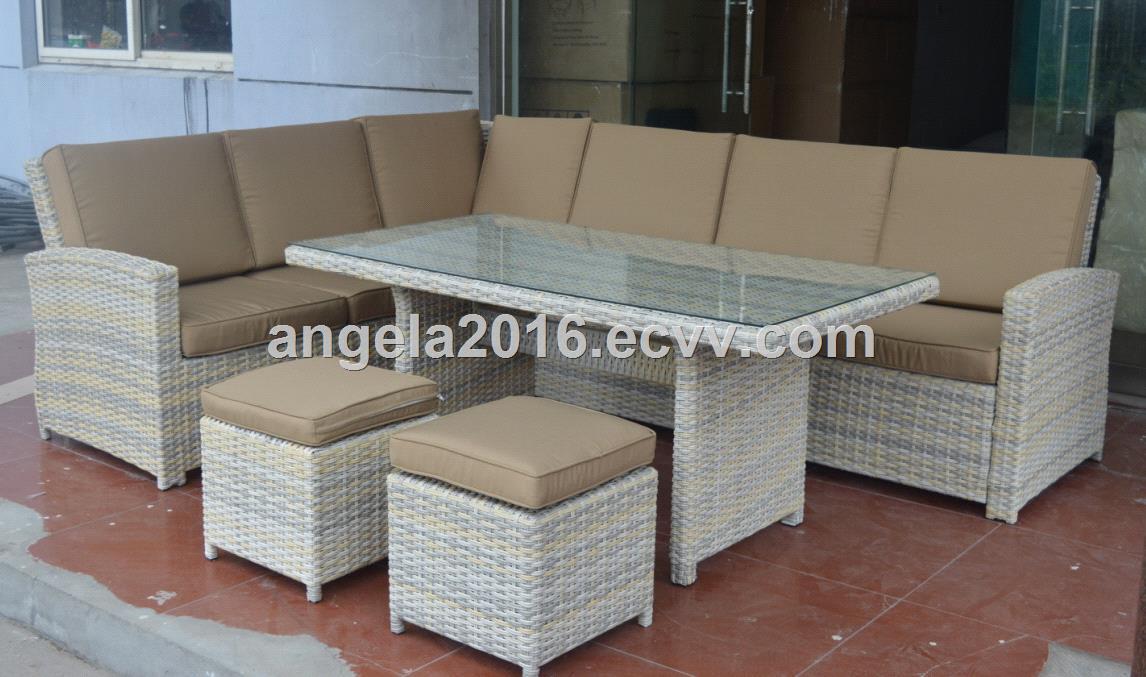 Hot sale sofa set 4 pcs grey PE round rattan furniture