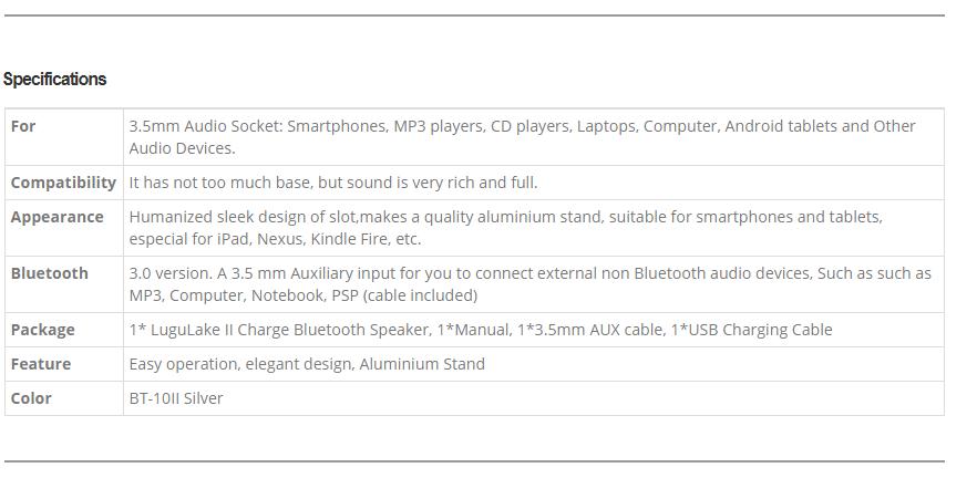 Lugulake Aluminum Portable Bluetooth 40 Speaker with Stand DockSilver