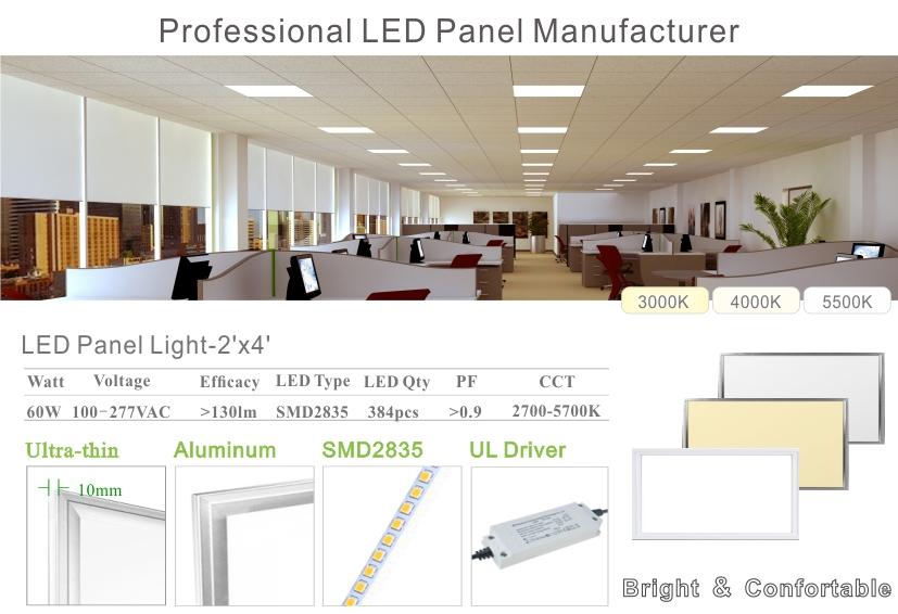 2x4FT LED Panel Light 60Watts Drop Ceiling Recessed Mounted