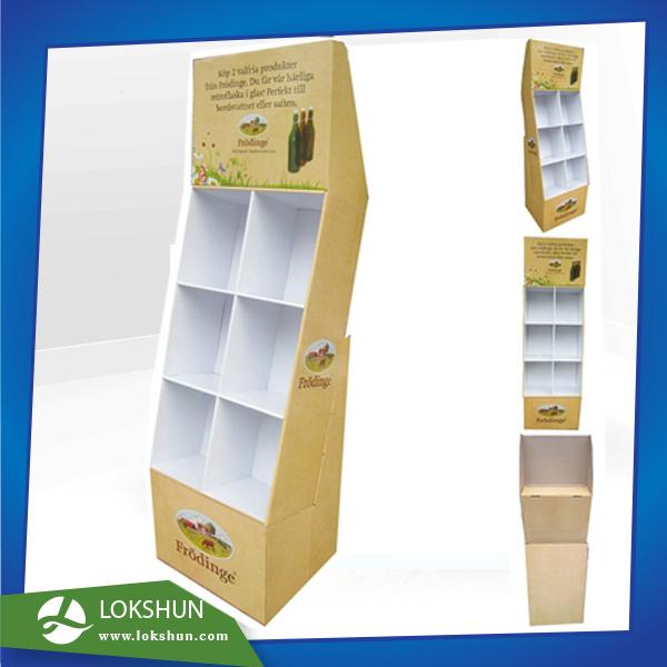 Cardboard Beverage Display With Pockets OEM POP Cardboard Floor Display