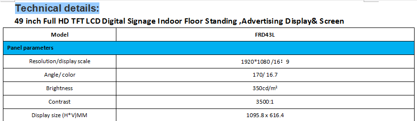 49 inch Full HD TFT LCD Digital Signage Indoor Floor Standing Advertising Display Screen