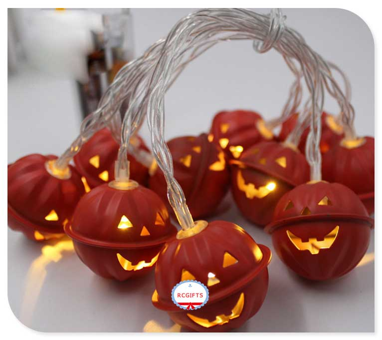 Metal Pumpkin Face LED Halloween Decor String Light