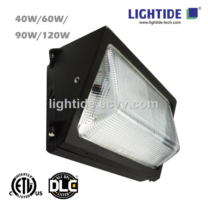 DLC Qualified LED Wall Pack Lights with Glass Refractor 120W 5 year warranty