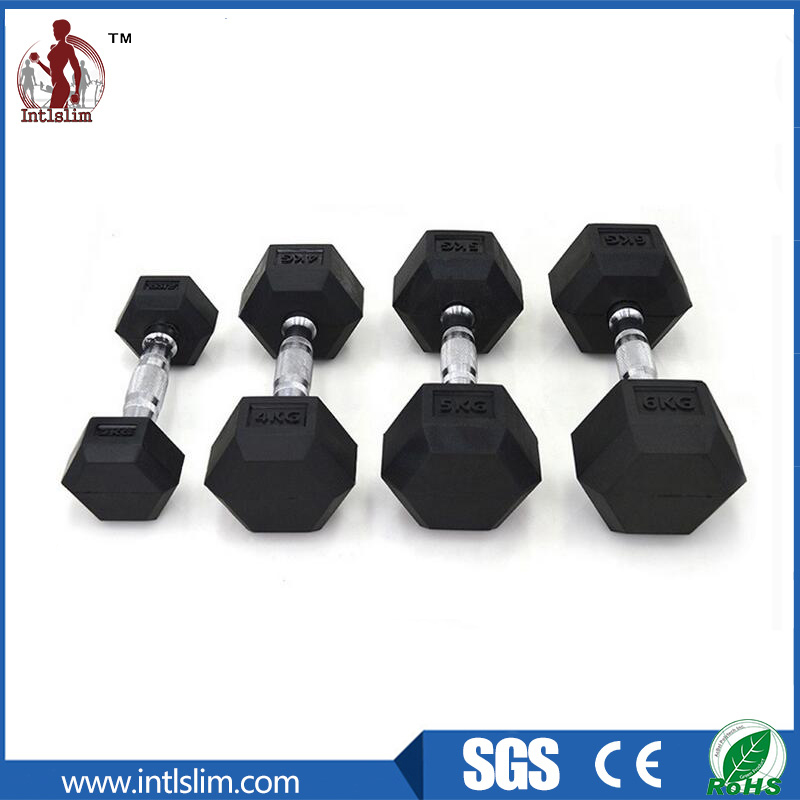 Black Hex Rubber Dumbbells for Gym
