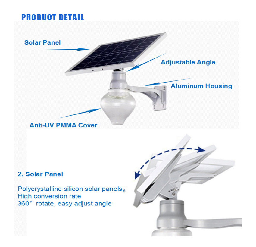 6w integrated antique solar powered garden street lamps with lithium battery