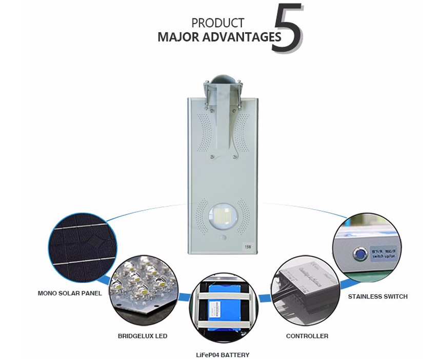 15W All In One Solar Energy integrated solar outdoor lighting