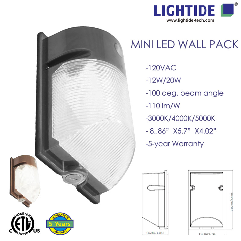 Mini LED Wall Pack Light Duskdawn control modePhotocell 12 Watts1400lm 5 Years Warranty