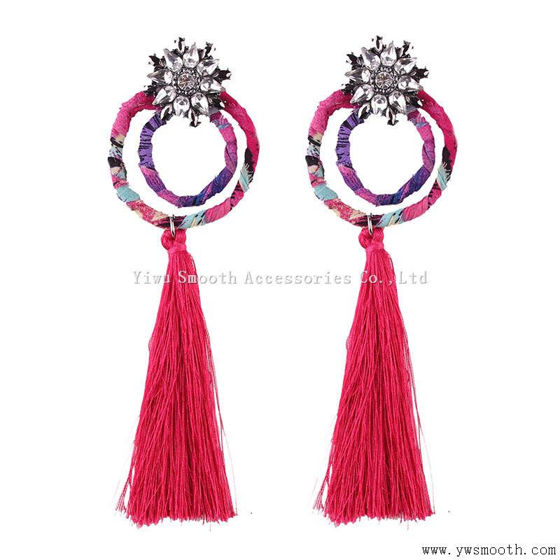 Fashion Rhinestone Metal Long Tassels 4Color Earring Women Jewelry