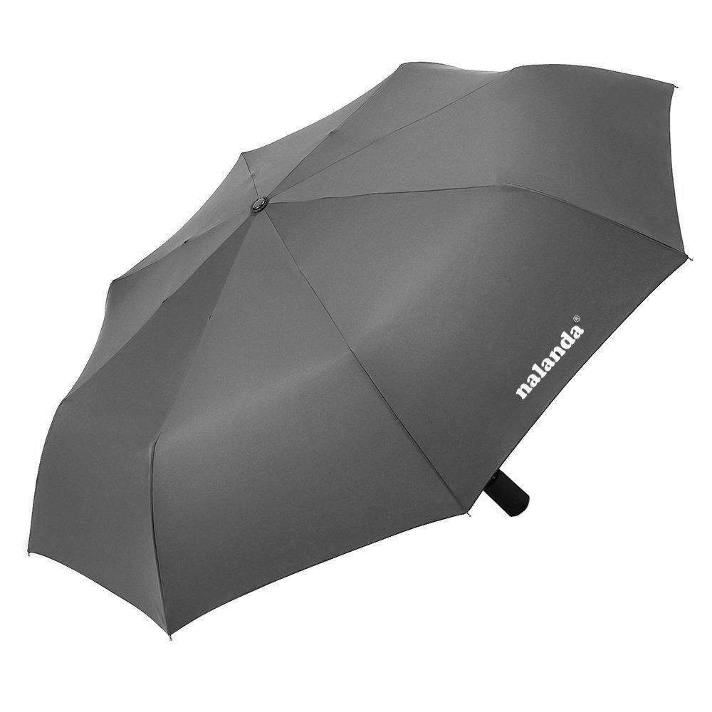 NALANDA Automatic Folding Travel Umbrella Auto Open and Close GreyBlack