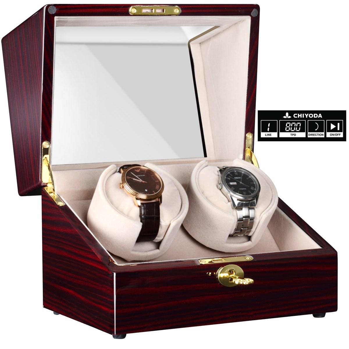 CHIYODA Automatic Handmade Double Watch Winder with Quiet Mabuchi Motor LCD Digital Display