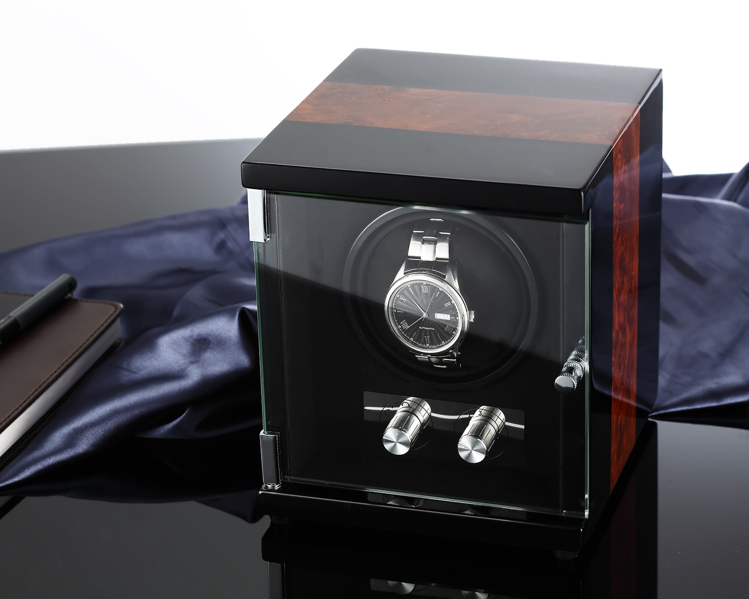 CHIYODA Automatic Single Watch Winder with Glass Cover Patchwork Patterns