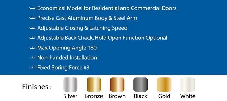 D803 Economic CE Standard Dorma Arm Square Door Closers for 4065kg door