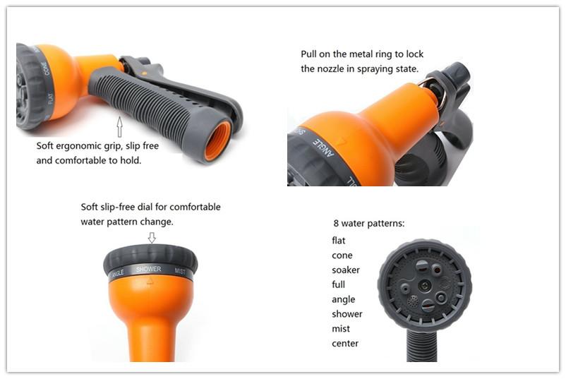 8pattern plastic water nozzle set w quick connectors