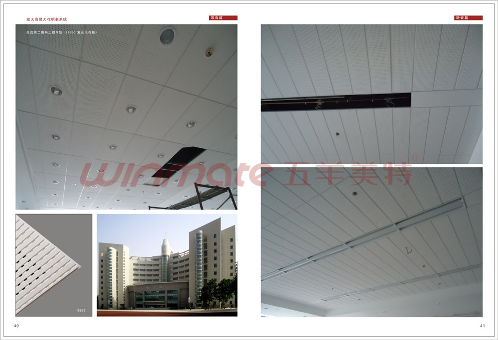 fiber glass gypsumplaster ceiling board 8825 6001200mm