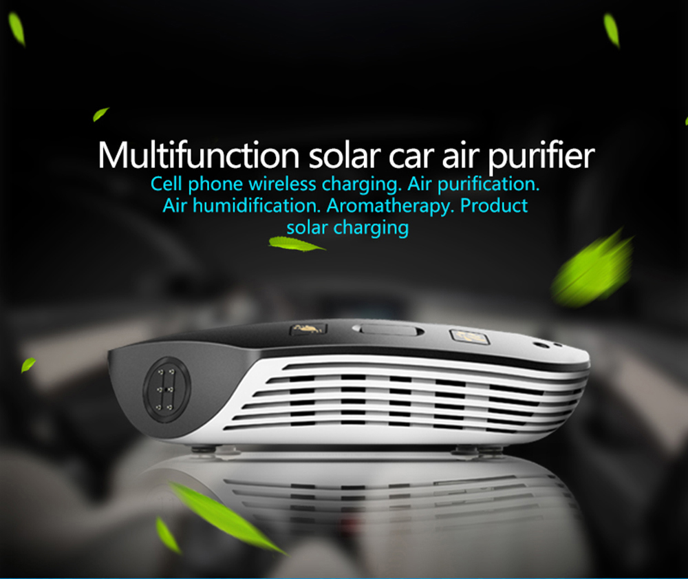 2018 Hot sale Multifunction solar car air purifier with wireless car charger function