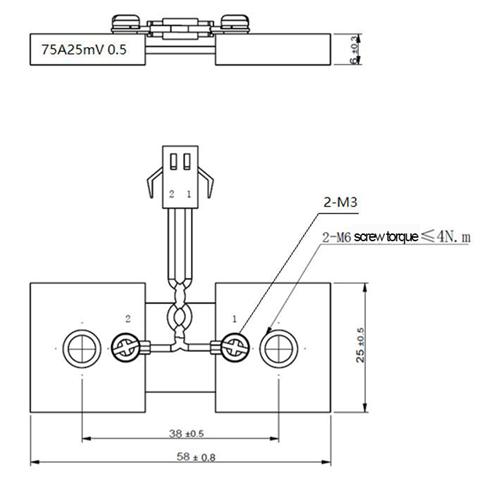 Factory direct sale FL2F 75A 25mV nickel plating shunt resistor with stranding line