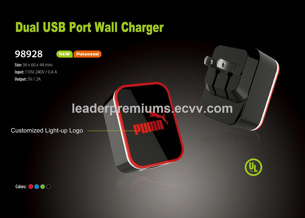 UL certified USB wall charger with 2 USB ports