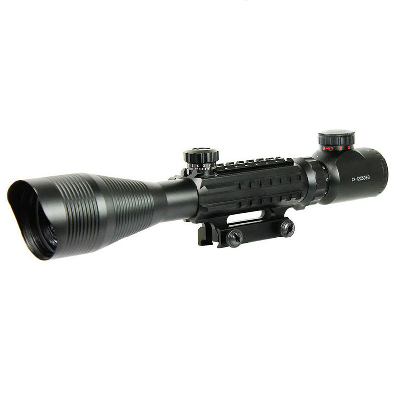 Rifle Scope 412x50 Mildot Telescopic Sight with Red Green Illuminated Crosshair