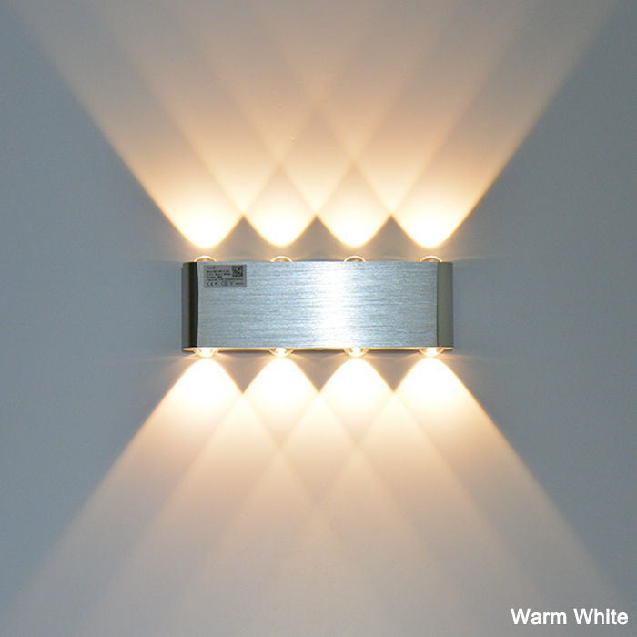 LED Indoor Wall lamps 8W Sconce Surface Mounted Sliver Modern Wall Light Living Room Porch Garden Lamp AC90