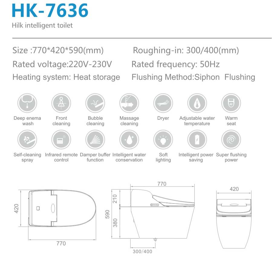 HK7636 siphon vortex automatic cleaning Washdown Electronic Smart Toilet