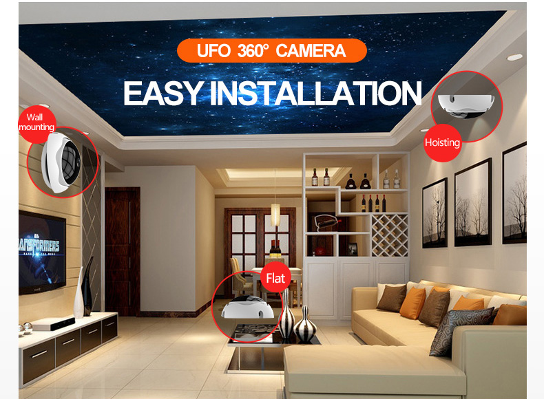 1080P 5MP HD 360VR Panoramic WiFi IP Camera Wireless Mobile Remote Control Office Home Security Camera Ceiling UFO Monit
