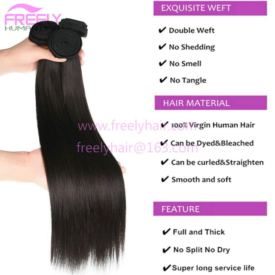 Freely Hair Brazilian Straight 10A Grade 100 Unprocessed Virgin Human Hair Bundles Weave Natural Color