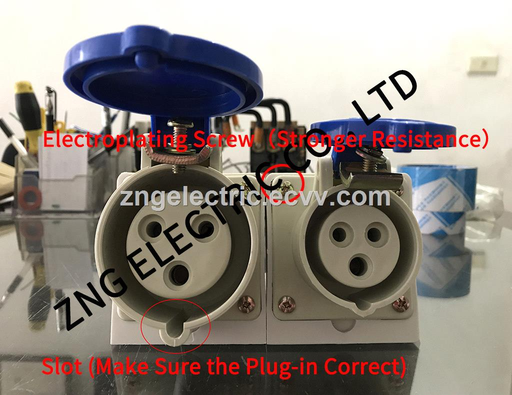 Panel Mounted Industrial Socket 250V 16Amp 3Pin IP44 Surface Mounted Industrial Socket 2PPE 16Amp