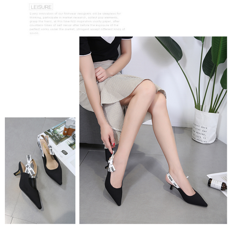 Middle heel Thin and pointed sandals bow tie casual shoes Highheeled Outdoor Comfortable womens shoes nude Apricot bla