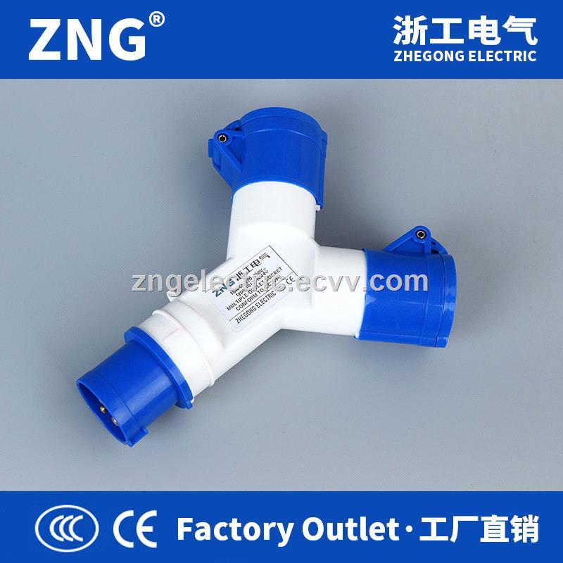 Multifunctional industrial plug and socket 16A3P 2way splitter industrial socket