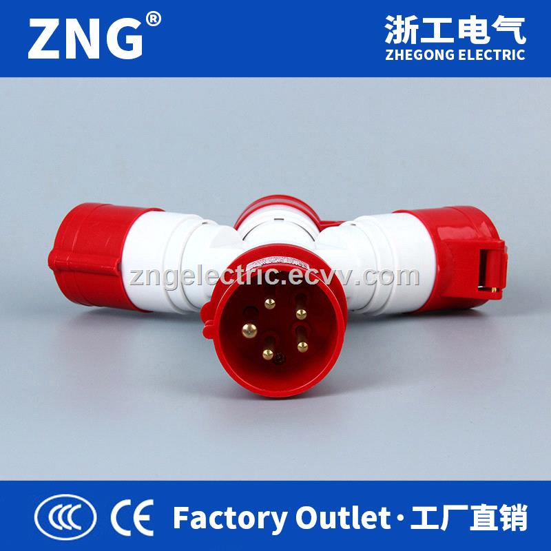 Multifunctional industrial plug and socket 3way splitter 32A5P