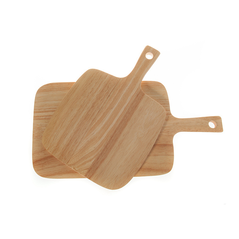 Factory Wholesale Ecofriendly Safety NaturalHandmade Rubber Wood Food Serving Tray with Handle